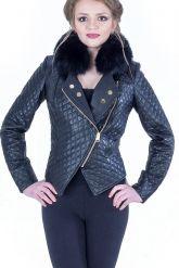 Стильная кожаная куртка с мехом. Фото 2.