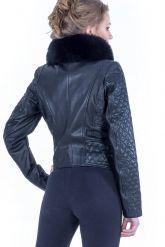 Стильная кожаная куртка с мехом. Фото 3.