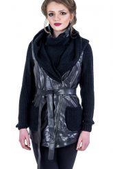 Куртка из кожи, комбинированной с трикотажем. Фото 2.