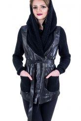 Куртка из кожи, комбинированной с трикотажем. Фото 3.