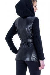 Куртка из кожи, комбинированной с трикотажем. Фото 4.