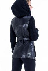Куртка из кожи, комбинированной с трикотажем. Фото 5.