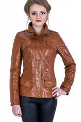 Кожаная куртка на молнии рыжего цвета. Фото 1.