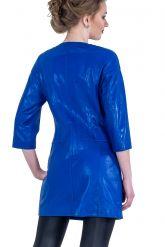 Кожаный тренч синего цвета. Фото 2.