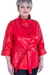 Кожаная женская куртка больших размеров. Фото 2.