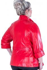 Кожаная женская куртка больших размеров. Фото 3.