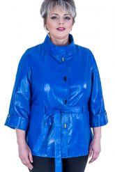 Синяя кожаная куртка больших размеров. Фото 1.