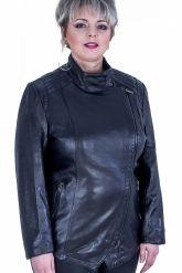 Черная кожаная куртка больших размеров. Фото 1.