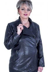 Черная кожаная куртка больших размеров. Фото 2.