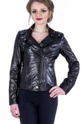 Черная кожаная куртка-косуха. Фото 1.