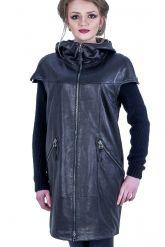 Демисезонное кожаное пальто с капюшоном. Фото 9.