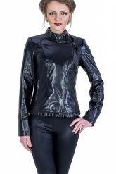 Красивая черная кожаная куртка. Фото 2.