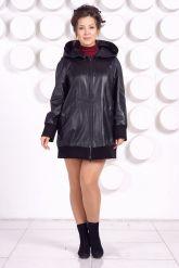Кожаная куртка с капюшоном большого размера. Фото 1.