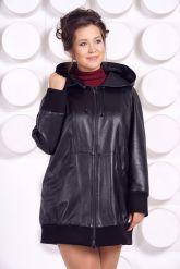 Кожаная куртка с капюшоном большого размера. Фото 3.