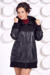 Кожаная куртка с капюшоном большого размера. Фото 4.