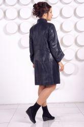 Синий кожаный плащ больших размеров. Фото 4.