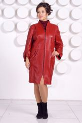 Красивый кожаный плащ больших размеров BAYAN. Фото 1.