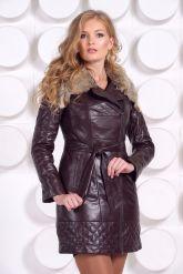 Кожаное пальто коричневого цвета. Фото 6.