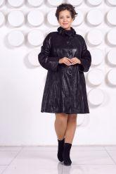 Кожаное пальто больших размеров MONIKA-VIZ. Фото 1.