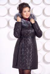 Стеганое кожаное пальто с мехом чернобурки. Фото 5.