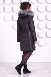 Стеганое кожаное пальто с мехом чернобурки. Фото 6.