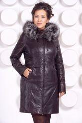 Кожаное пальто с подстежкой шоколадного цвета. Фото 3.