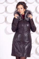 Кожаное пальто с подстежкой шоколадного цвета. Фото 4.