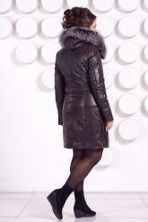 Кожаное пальто с подстежкой шоколадного цвета. Фото 5.