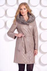 Стеганое кожаное пальто с отделкой вязаной норкой. Фото 2.