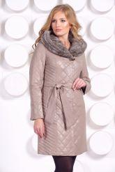 Стеганое кожаное пальто с отделкой вязаной норкой. Фото 3.