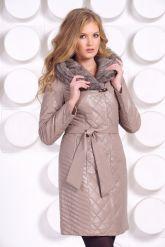 Стеганое кожаное пальто с отделкой вязаной норкой. Фото 4.
