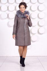 Классическое кожаное пальто с мехом чернобурки. Фото 4.