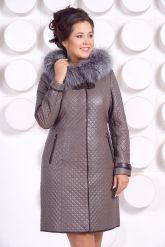 Классическое кожаное пальто с мехом чернобурки. Фото 5.