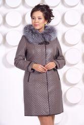 Классическое кожаное пальто с мехом чернобурки. Фото 6.
