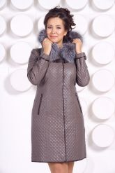 Классическое кожаное пальто с мехом чернобурки. Фото 7.