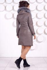 Классическое кожаное пальто с мехом чернобурки. Фото 8.