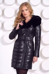 Стильное кожаное пальто с мехом рекс. Фото 5.