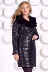 Стильное кожаное пальто с мехом рекс. Фото 6.