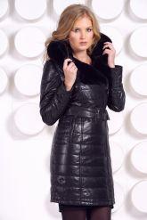 Стильное кожаное пальто с мехом рекс. Фото 7.