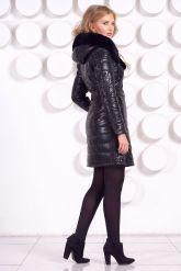 Стильное кожаное пальто с мехом рекс. Фото 8.