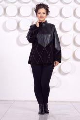 Комбинированная кожаная куртка больших размеров. Фото 1.