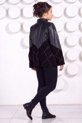 Комбинированная кожаная куртка больших размеров. Фото 3.