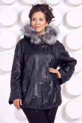 Кожаная куртка с мехом больших размеров WOMAN. Фото 3.