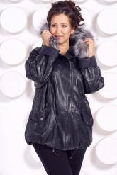 Кожаная куртка с мехом больших размеров WOMAN. Фото 4.