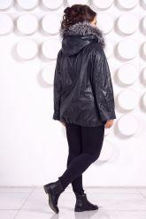 Кожаная куртка с мехом больших размеров WOMAN. Фото 5.