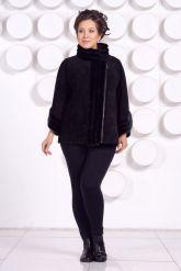 Женская куртка автоледи из натуральной замши больших размеров. Фото 1.