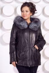 Удлиненная кожаная куртка с мехом чернобурки. Фото 3.