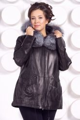 Удлиненная кожаная куртка с мехом чернобурки. Фото 4.