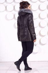 Удлиненная кожаная куртка с мехом чернобурки. Фото 5.