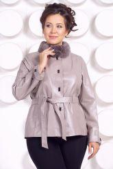 Кожаная куртка бежевого цвета. Фото 2.